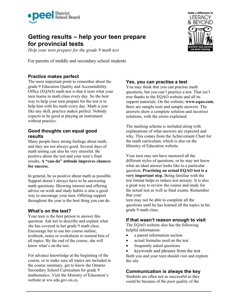 Tip Sheet for Students to Help with Mathematics