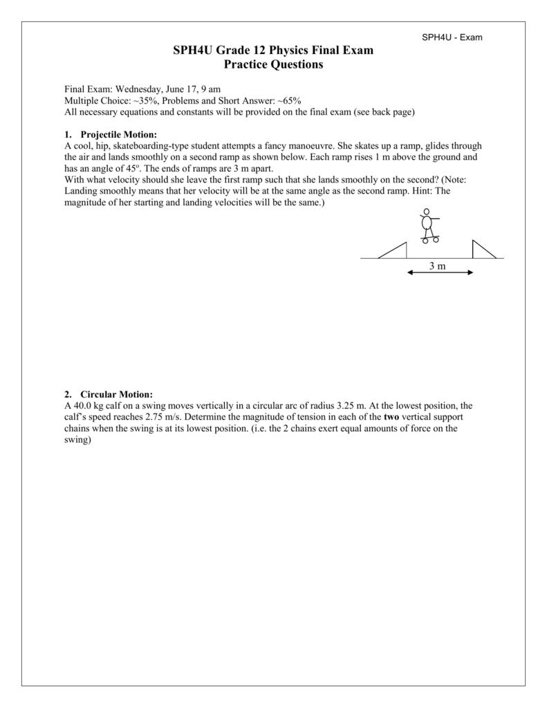 Sph4u Grade 12 Physics Final Exam Forces 11