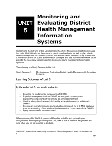 Monitoring and Evaluating District Health Management Information
