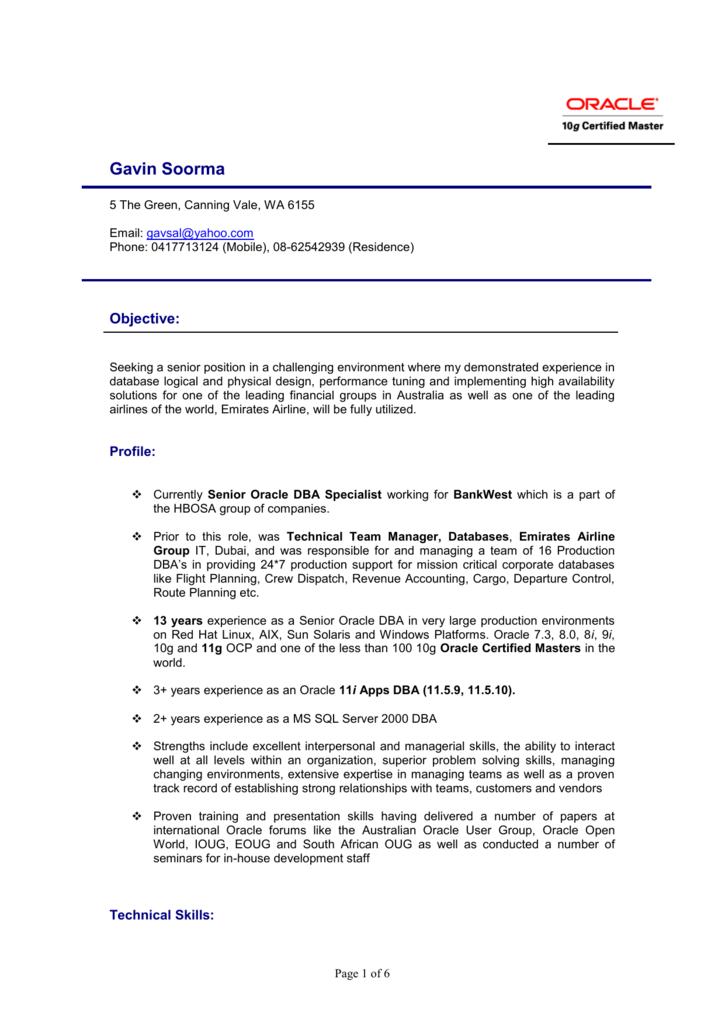 Curriculum Vitae - Oracle DBA
