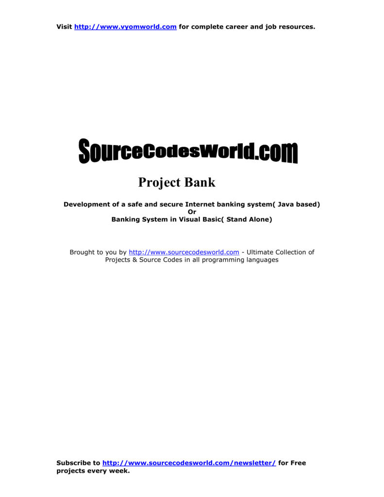 Project Bank - Source Codes World