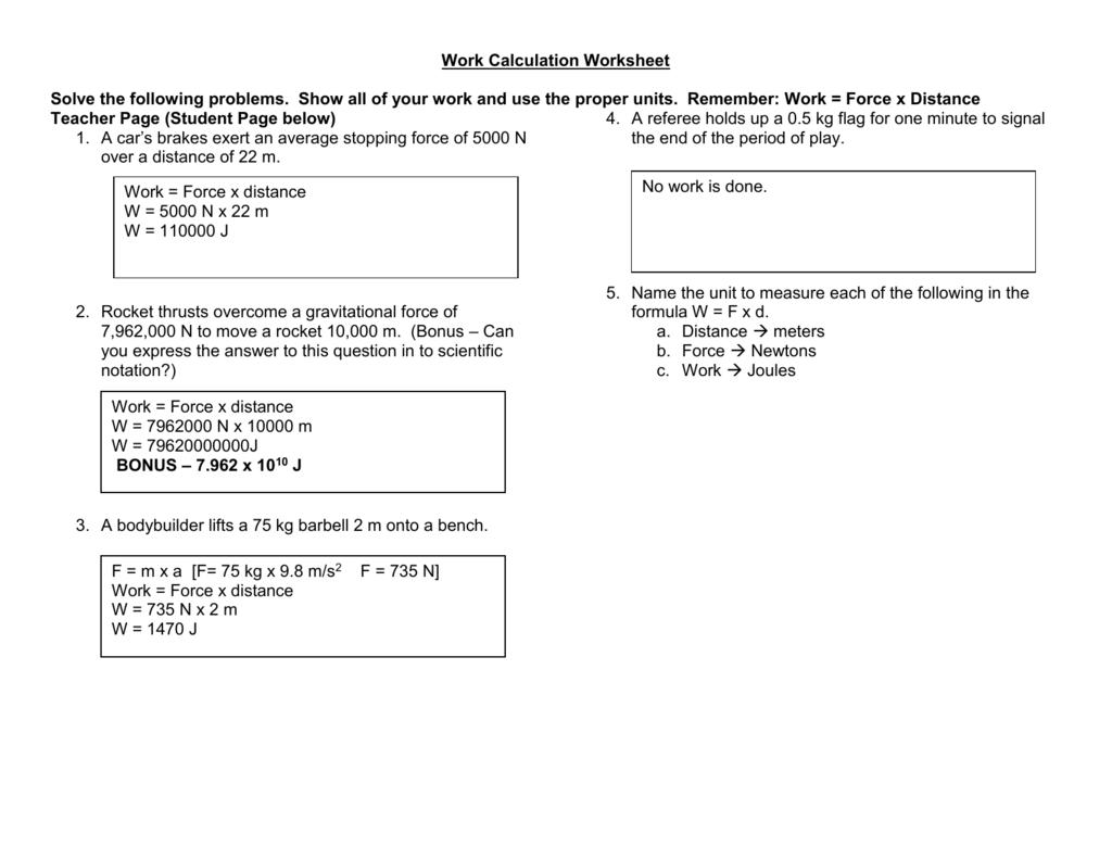 Work Calculation Worksheet