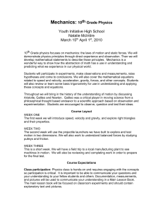 Mechanics: 10th Grade Physics - Youth Initiative High School