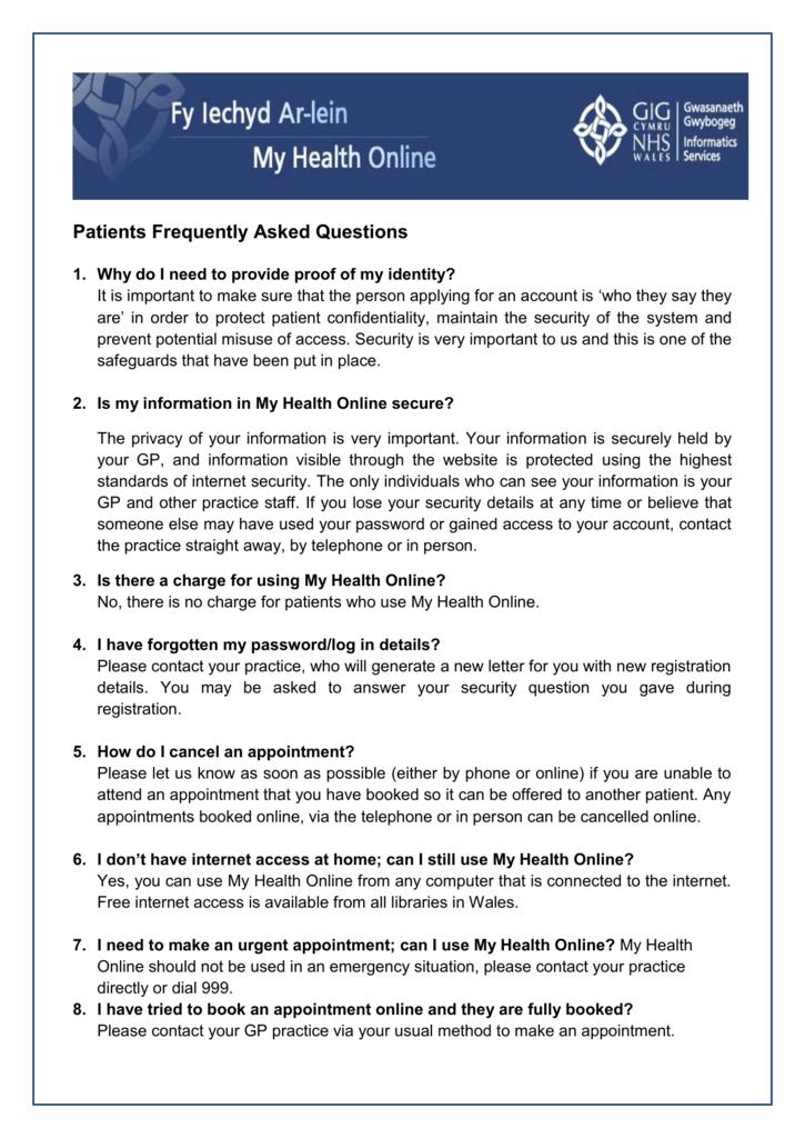 MHOL FAQ's (English)