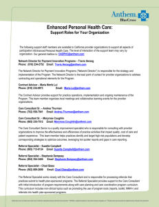 Enhanced Personal Health Care: Support Roles for Your Organiz