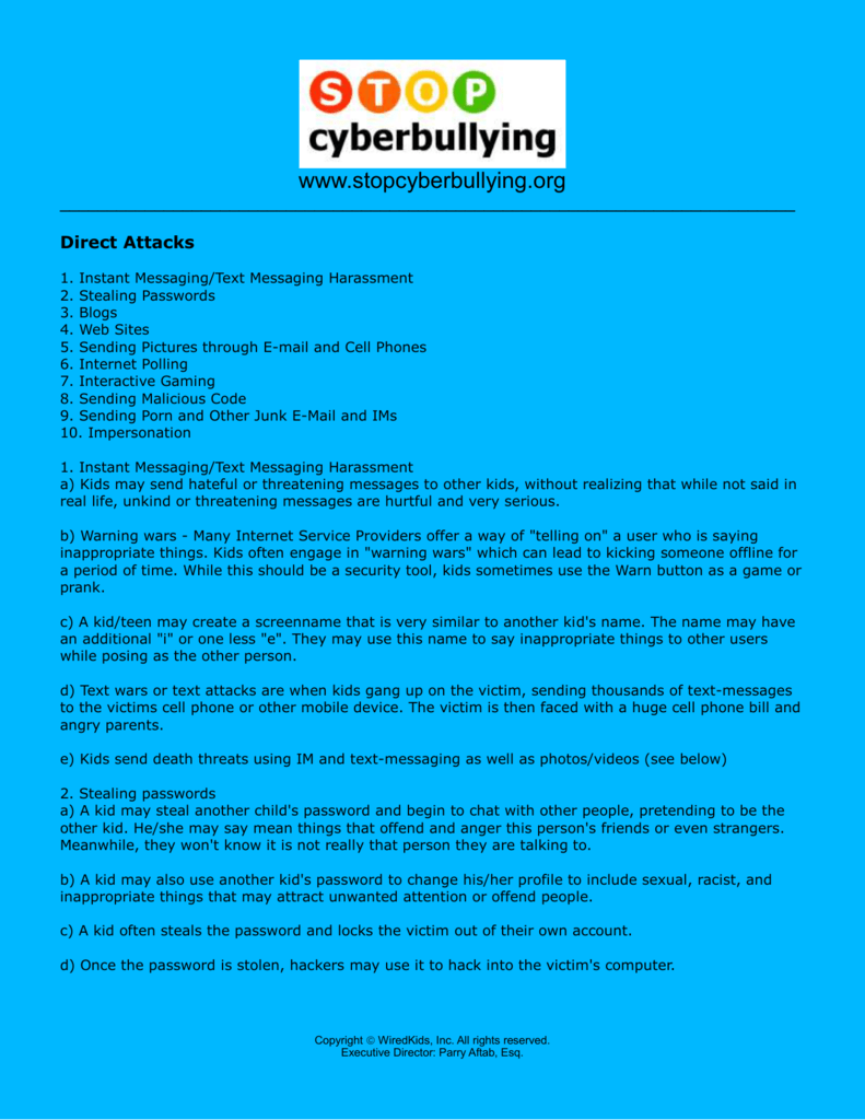 Direct attacks - STOP cyberbullying