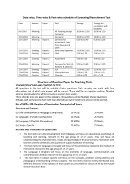 Examination Schedule and Structure of Question Paper