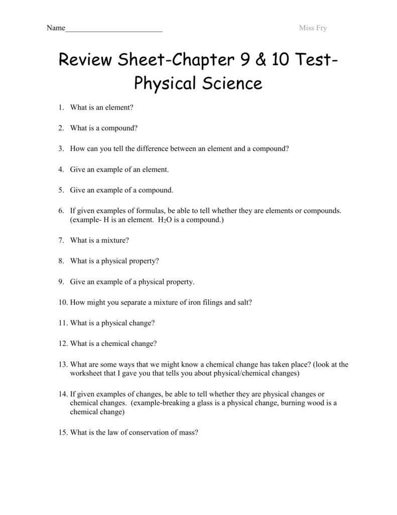 Review Sheet Chapter 9 Test