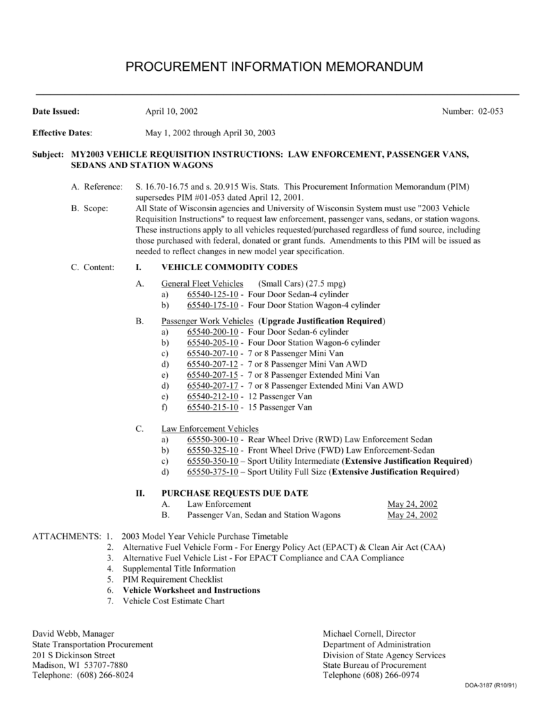 Date Issued April 10 2002 Effective Dates May 1 Through 30 2003 Number 02 053 Subject My2003 Vehicle Requisition Instructions Law