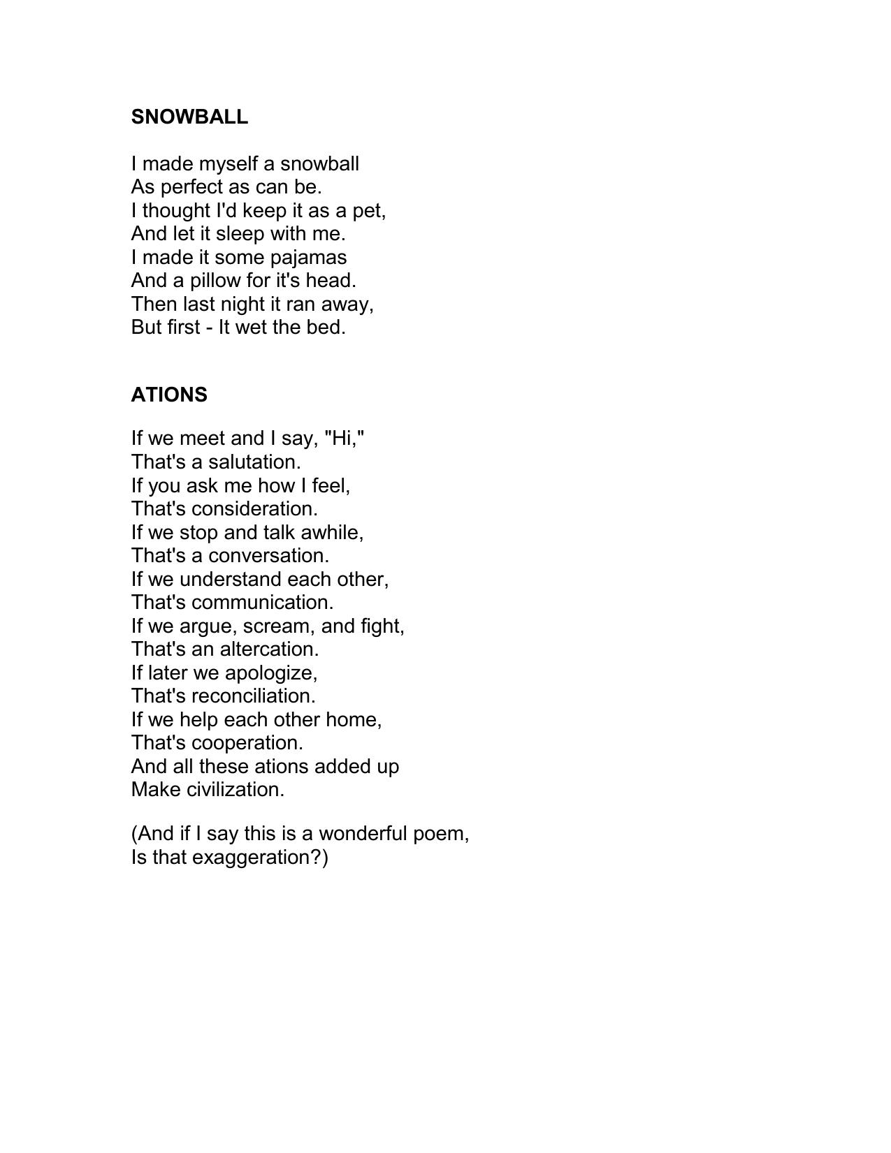 Shel Silverstein Poems