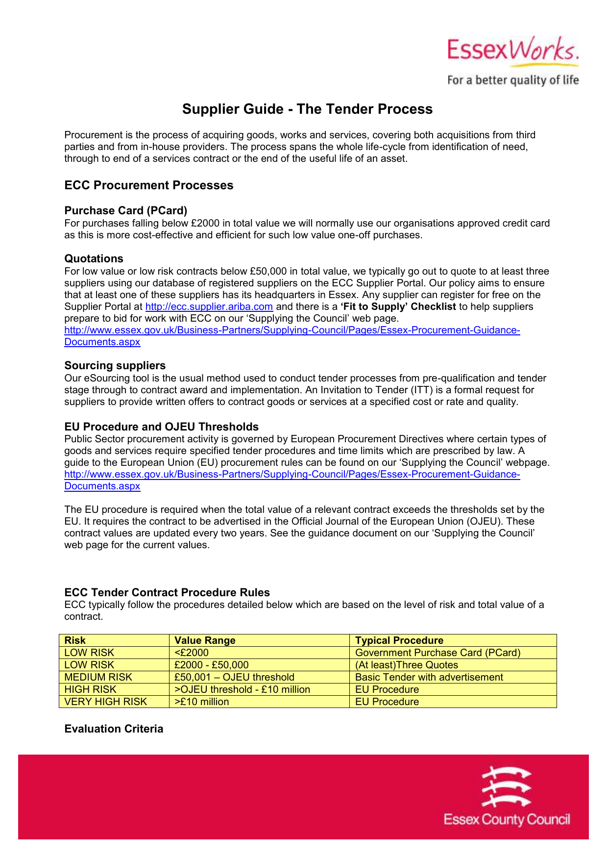 Supplier Guide - The Tender Process