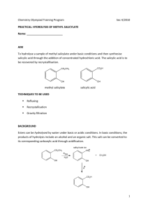 Hydrolysis of Methyl Salicylate