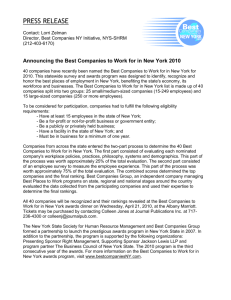 2010 Best Companies to Work for in New York State Announced