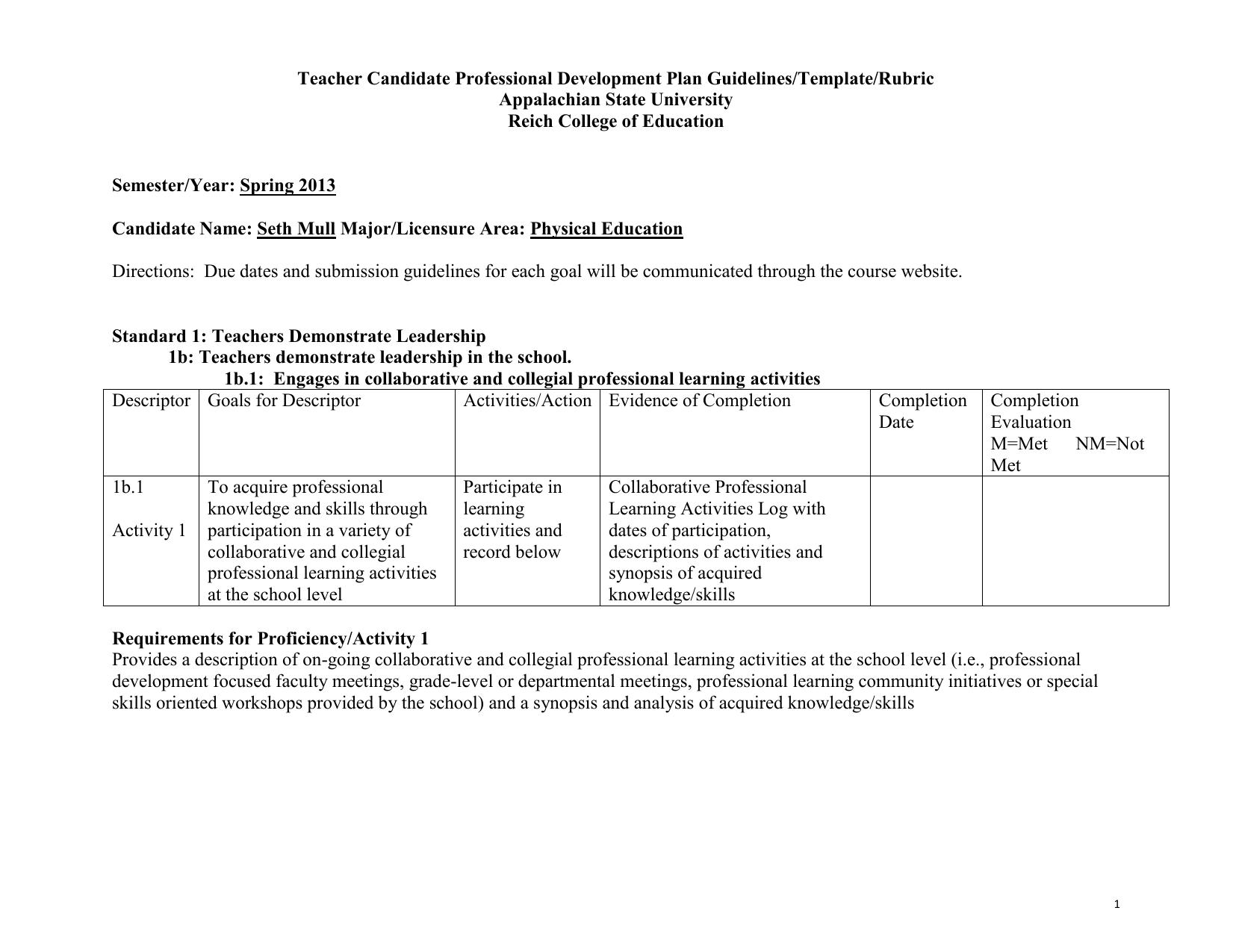 teacher candidate professional development plan guidelines. Black Bedroom Furniture Sets. Home Design Ideas