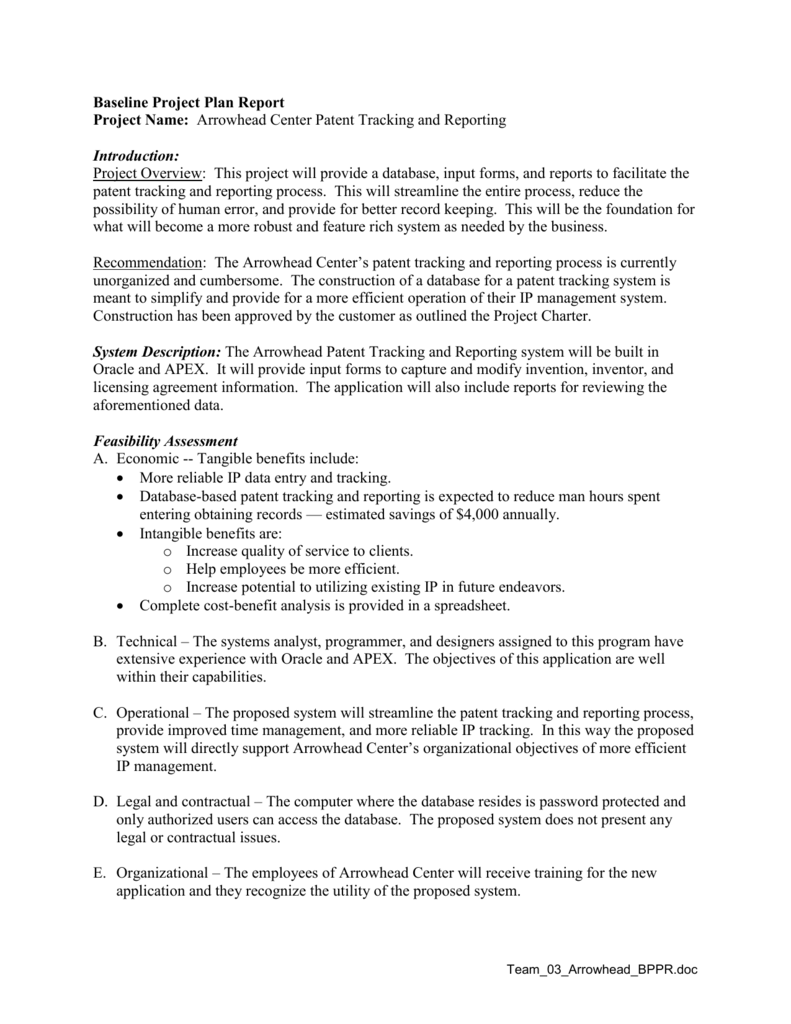 Baseline Project Plan Report