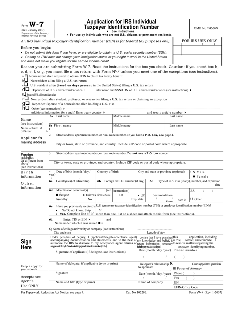 Form W-7 - Department of Entomology