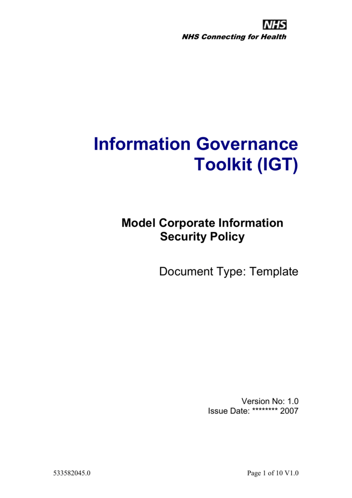 corporate information security policy template