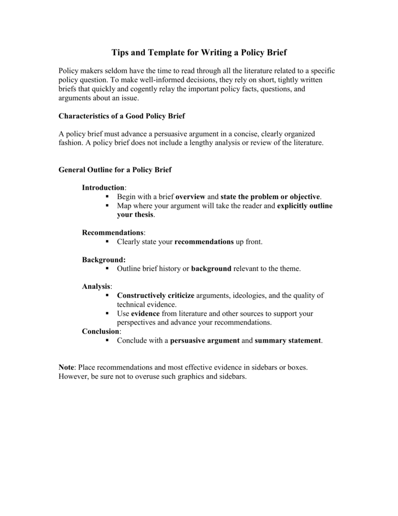 policy brief assignment