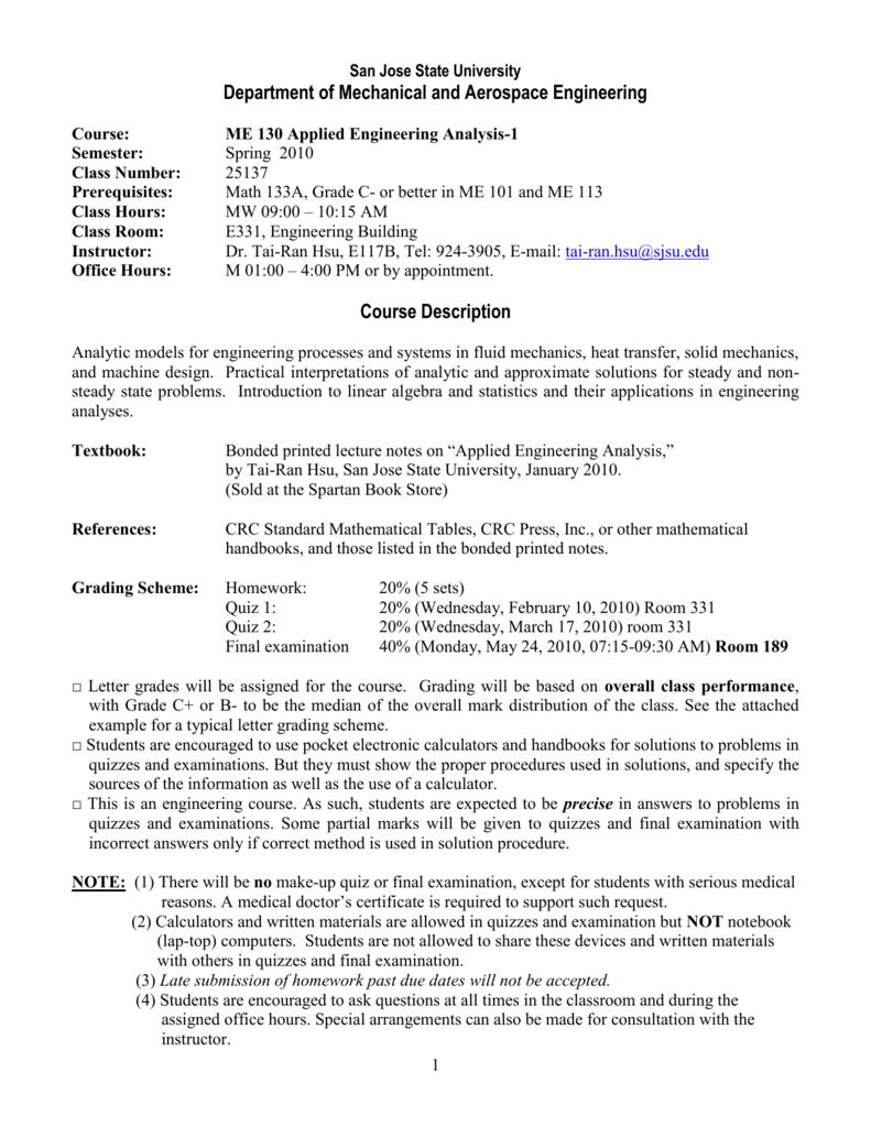 Course Goals - San Jose State University