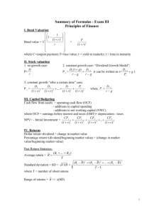 Formula sheet Princ of Finance