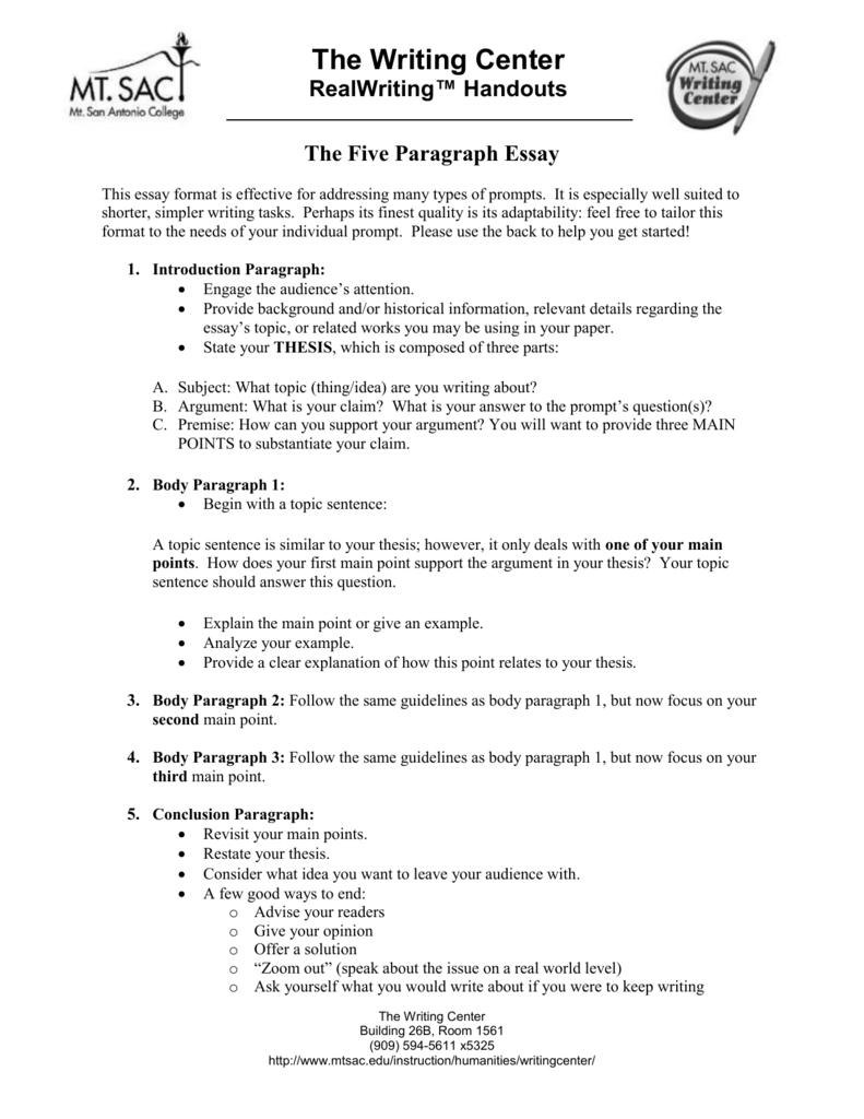 five paragraph essay example