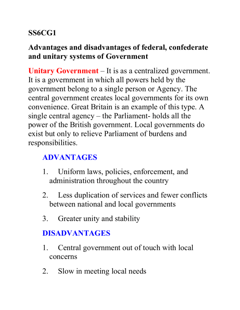 SS6CG1 Advantages and disadvantages of federal, confederate
