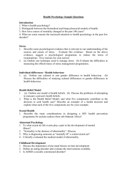 Health Psychology Sample Questions