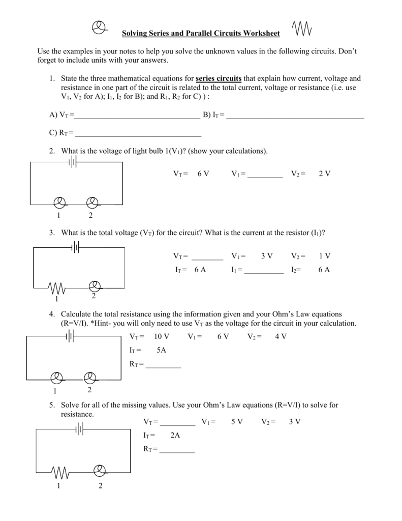 Series Circuits Worksheet Delibertad – Series and Parallel Circuits Worksheet