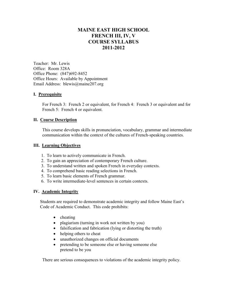 French 3/4/5 Syllabus - Maine East High School