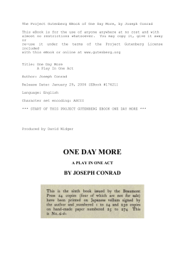 The Project Gutenberg EBook of One Day More, by Joseph Conrad