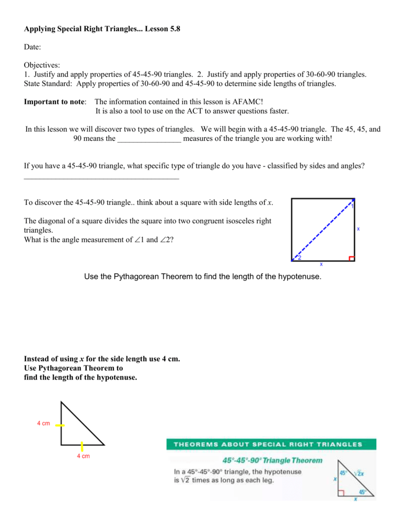 worksheet 30-60-90 Triangle Worksheet With Answers applying special right triangles