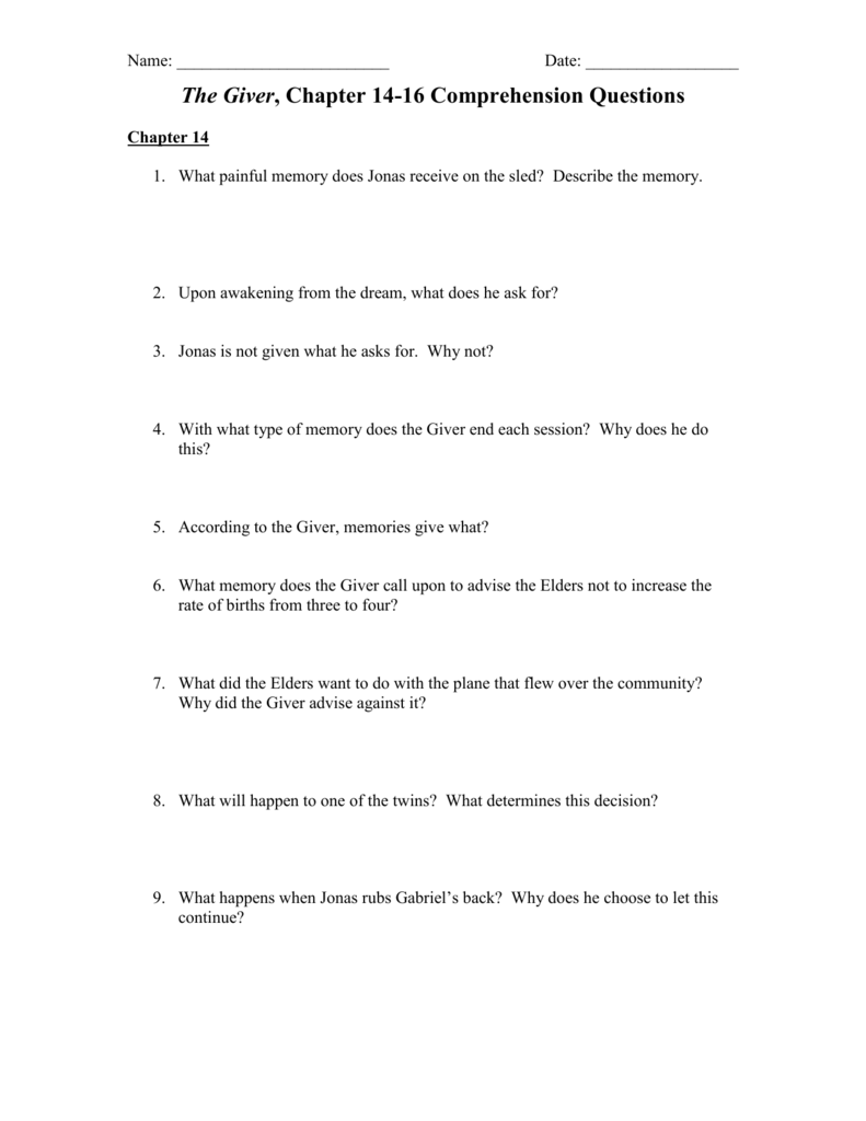 Worksheets The Giver Worksheets the giver chapter 14 16 comprehension questions