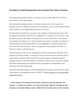 developmentally appropriate practice essay The expression developmentally appropriate practice is widely used by  professionals who take care of children, in order to mention the care.
