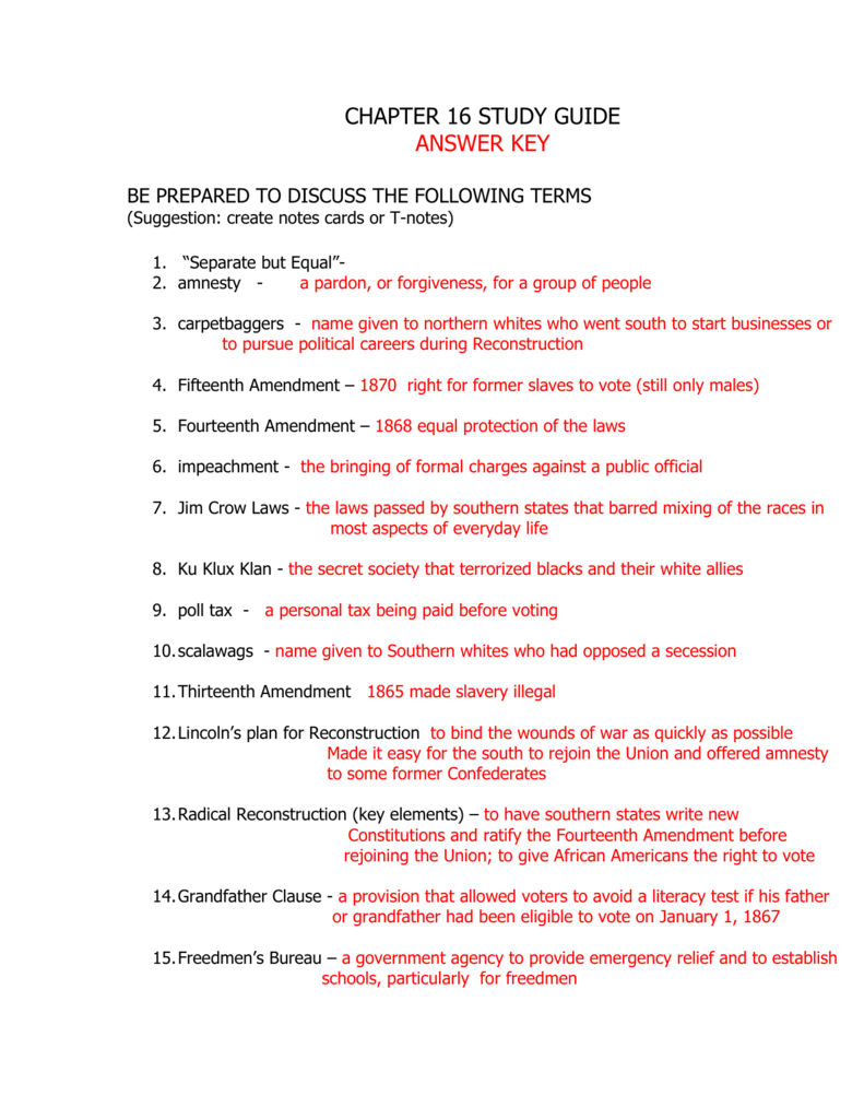 Chapter 16 Study Guide Peoria Public Schools District 150