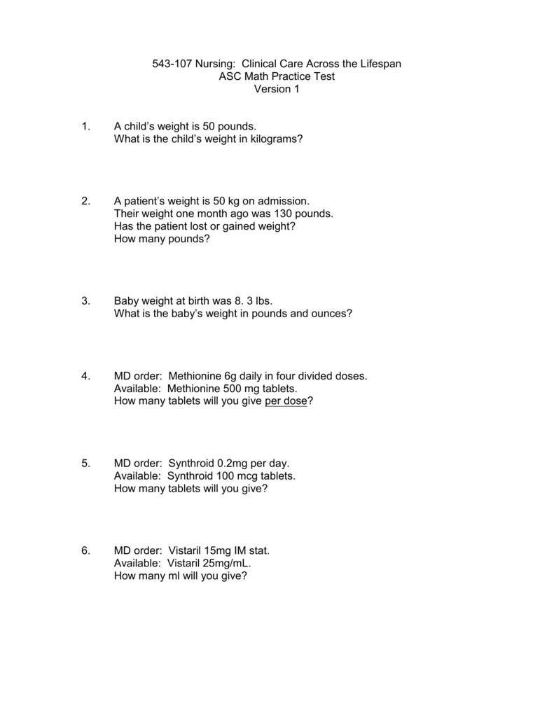Practice Math Test #1