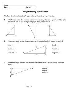 Trig Worksheet