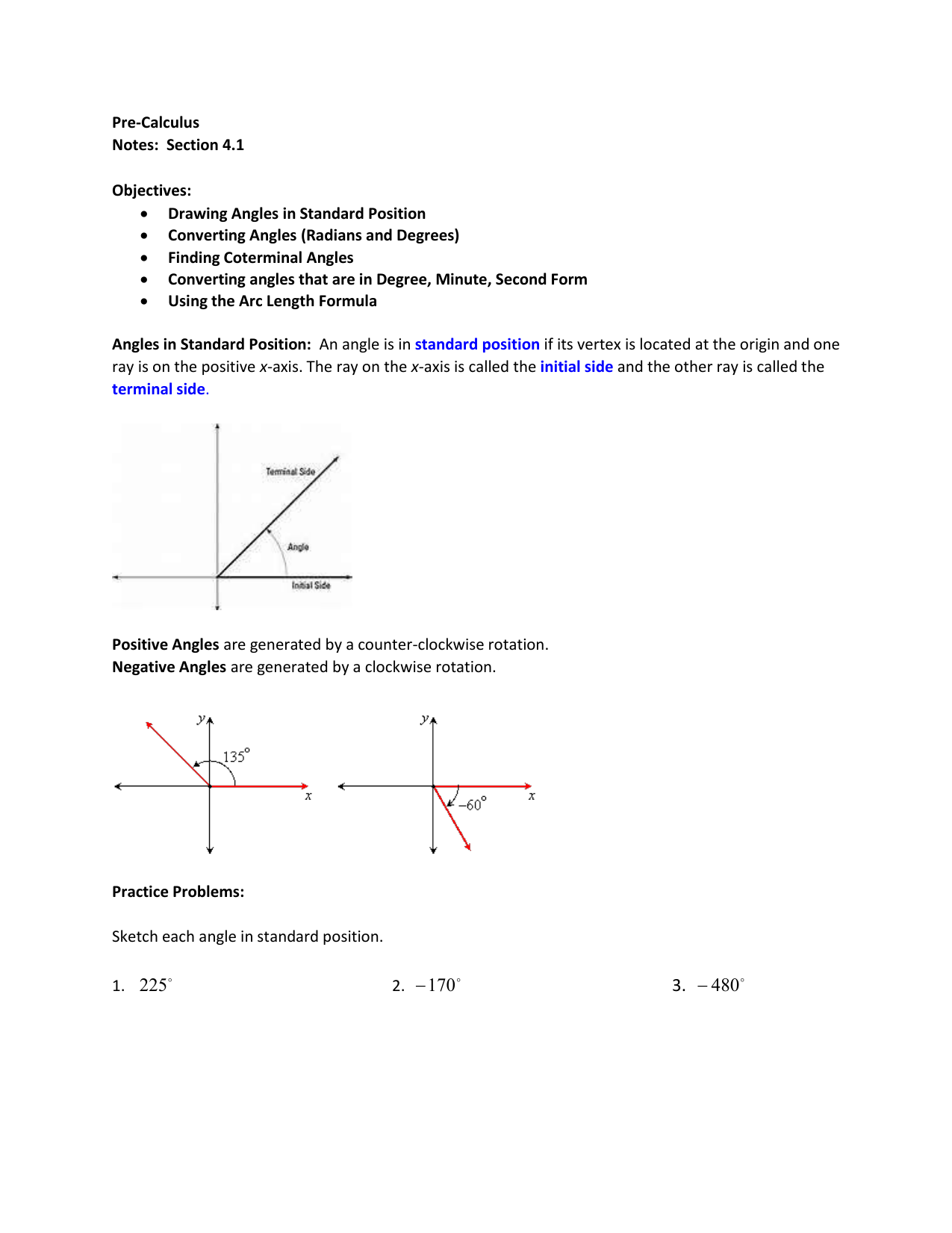 Pre-Calculus Notes: Section 4 1 Objectives: Drawing Angles in