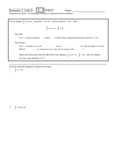 Integration by Parts I Worksheet