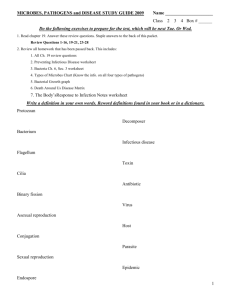 MICROBES, PATHOGENS and DISEASE STUDY GUIDE 2009 Name
