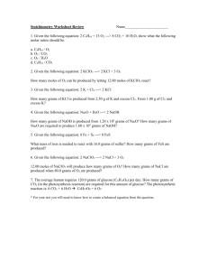 Stoichiometry Worksheet #1 Answers