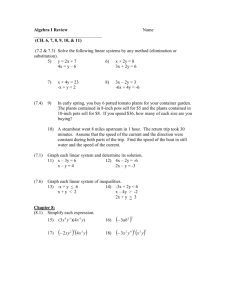 Algebra I Review Summer Packet for Advanced Algebra