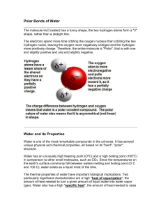 Polarity of Water Molecules
