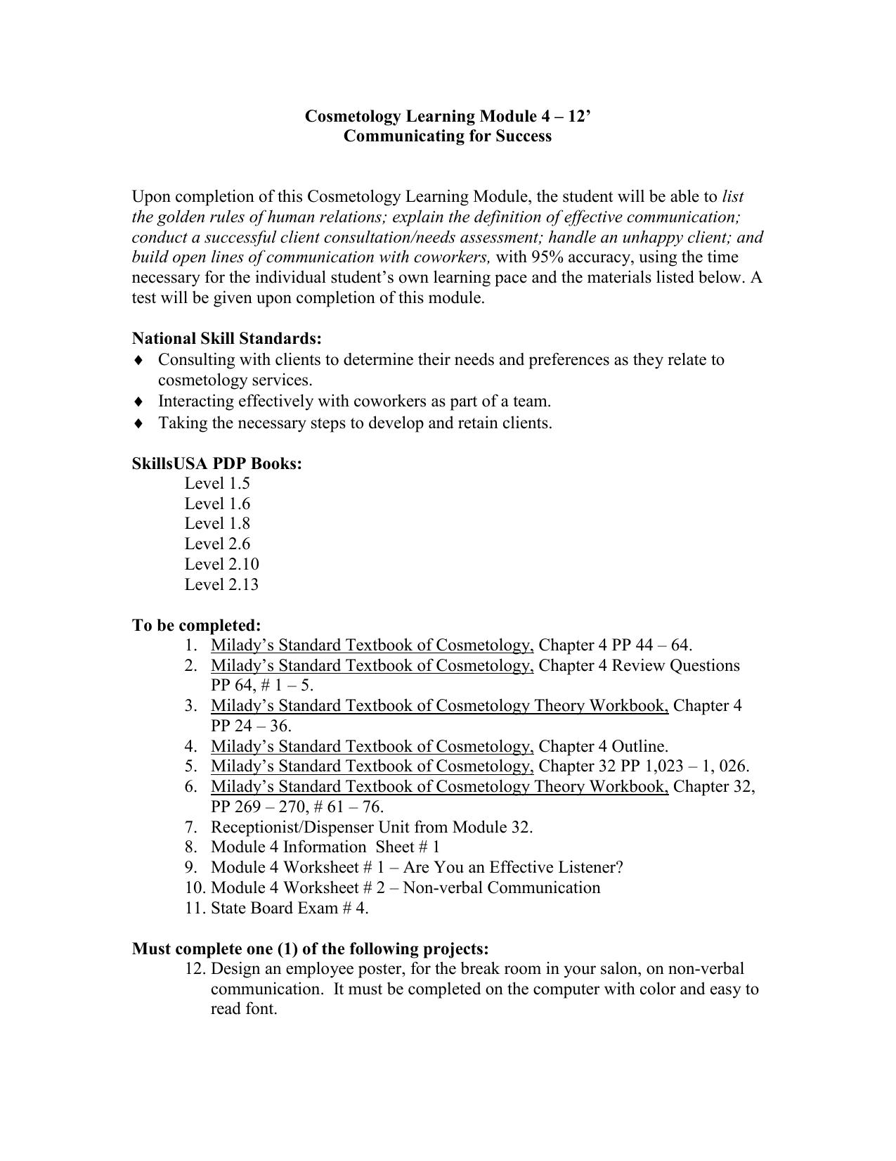 cosmetology learning module 4