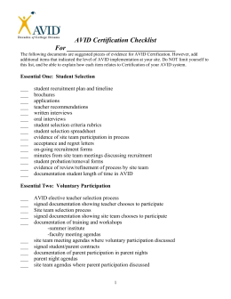 AVID Certification Checklist