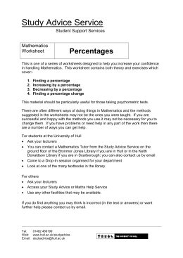 Percentages - University of Hull