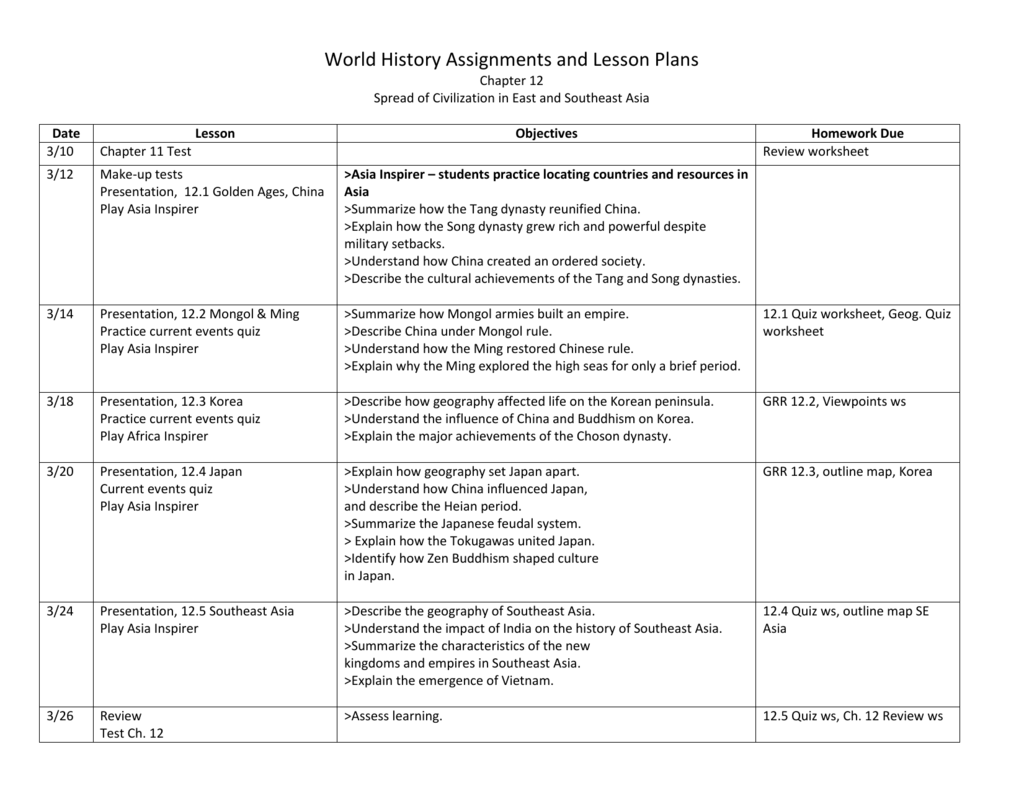 World History Assignments And Lesson Plans Chapter Spread Of - Japan map quiz worksheet