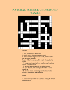 natural science crossword puzzle - TOK