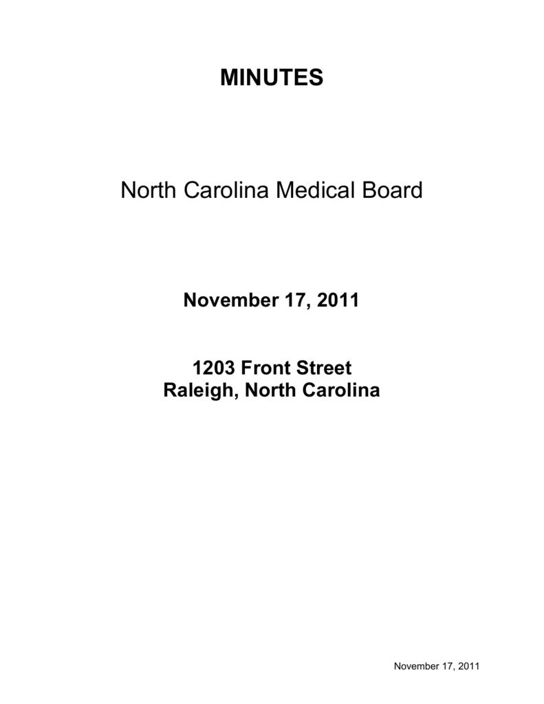 minutes - North Carolina Medical Board