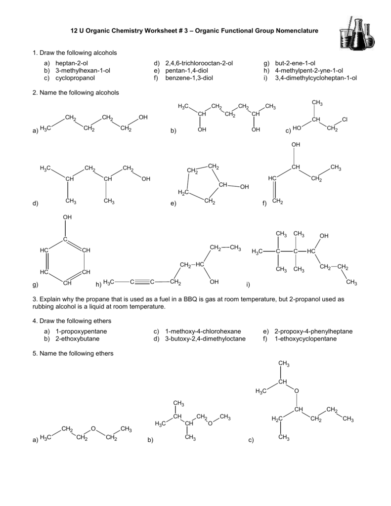 Worksheets Organic Nomenclature Worksheet 12 u organic chemistry worksheet 3 functional group