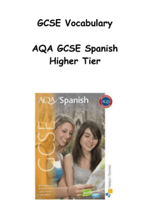 GCSE Vocabulary - AQA GCSE Spanish Higher Tier Textbook